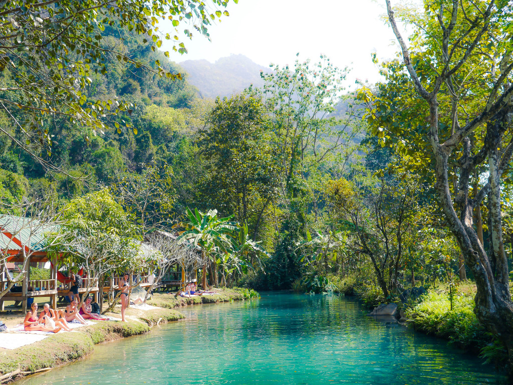 the blue lagoon vang vieng, laos