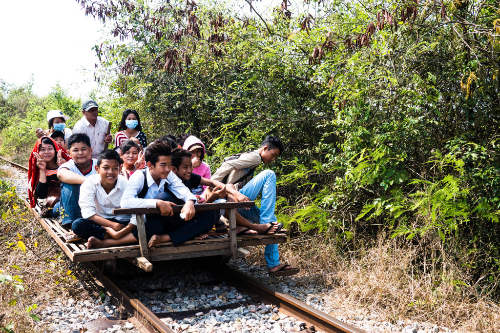 bamboo train battambang, cambodia