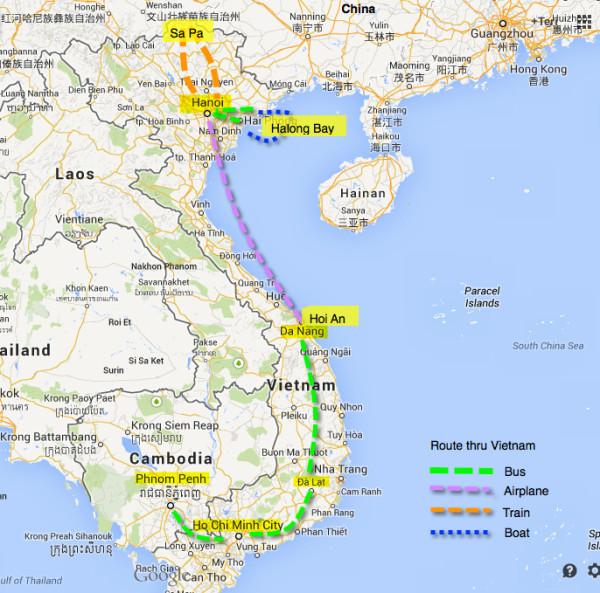 travel vietnam route itinerary