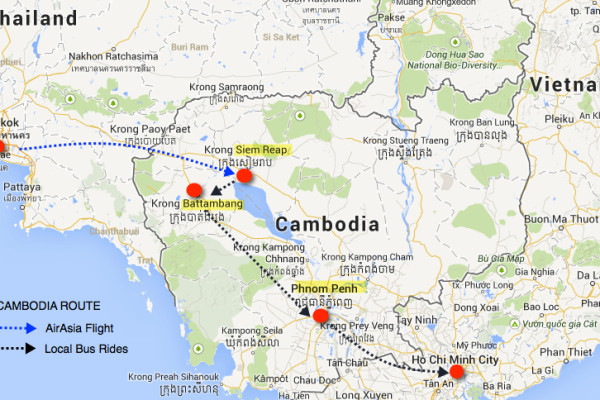 cambodia travel route