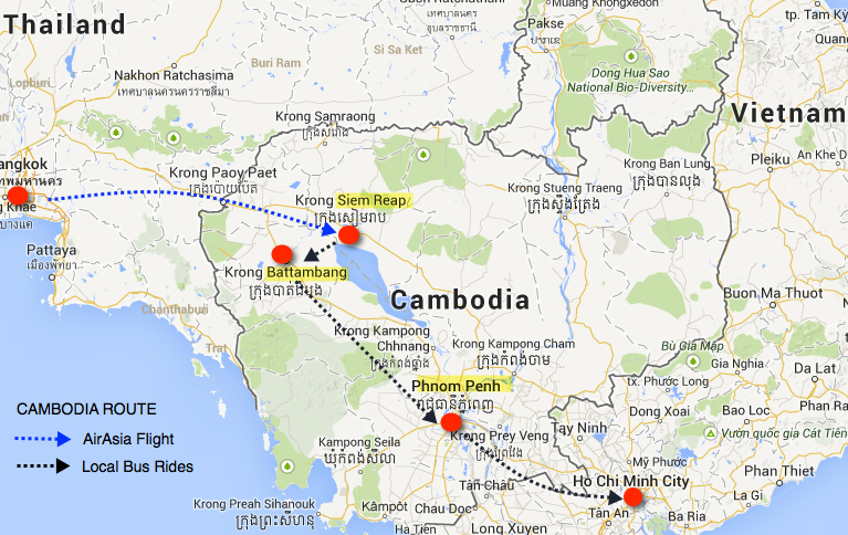 cambodia travel route