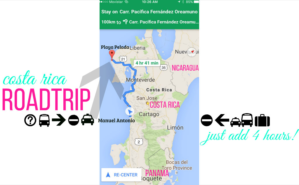 Costa Rica Roadtrip MAP ADD